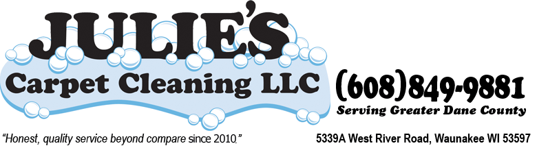 Julie's Carpet Cleaning, LLC. 5339A West River Rd., Waunakee WI 53597 608-849-9881